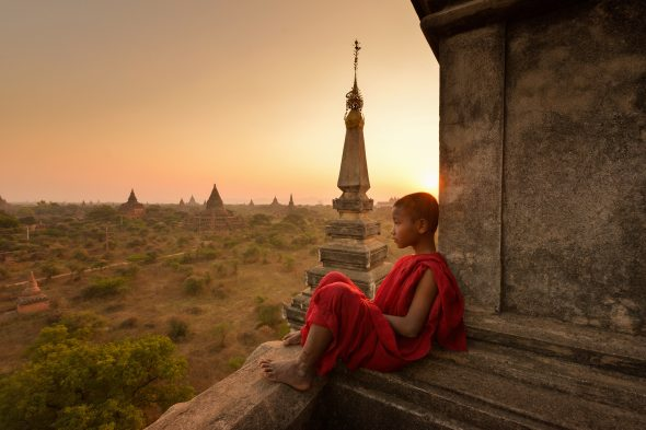 The plain of Bagan on during sunrise, Mandalay, Myanmar