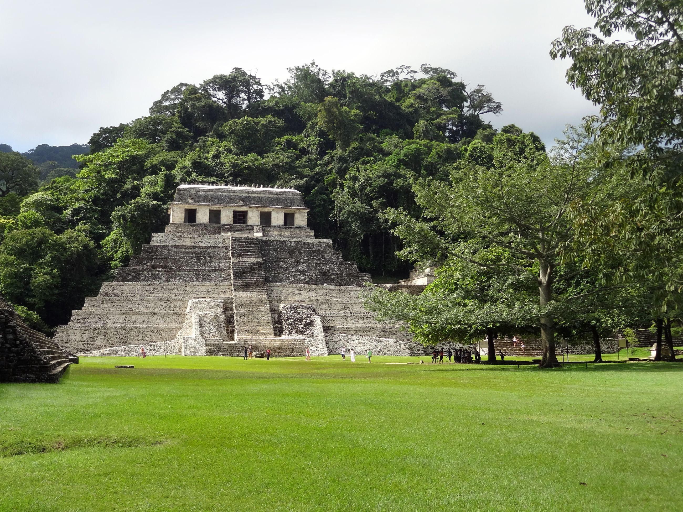 mayan temple ruins at Palenque in Mexico