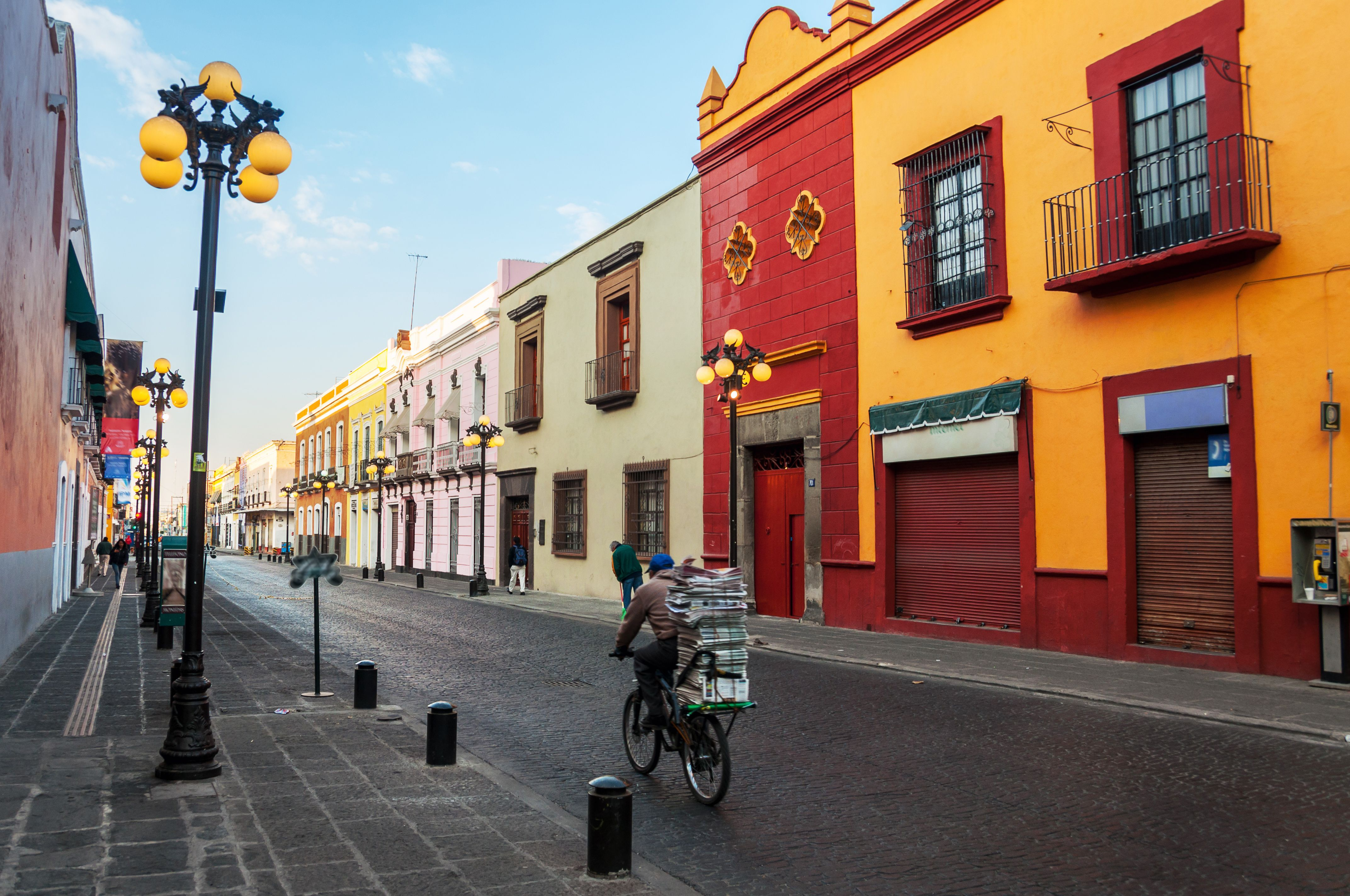 Morning streets of Puebla de Zaragoza - the one of the five most important Spanish colonial cities in Mexico. Its history and architectural styles are very famous